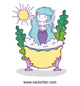 mermaid woman in the bath with plants and sun