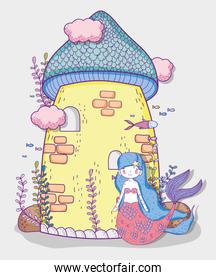 cute mermaid woman and castle with clouds and plants