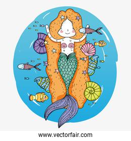 cute mermaid woman with fishes and snails underwater
