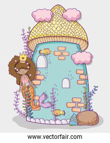 mermaid woman wearing crown with clouds and plants