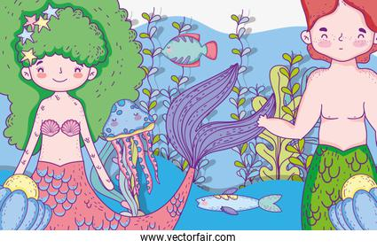 mermaids woman and man with plants leaves