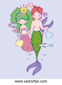 mermaids woman wearing crown with man and hearts