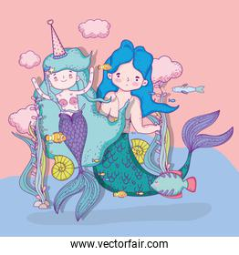 mermaids woman and man with clouds and fishes