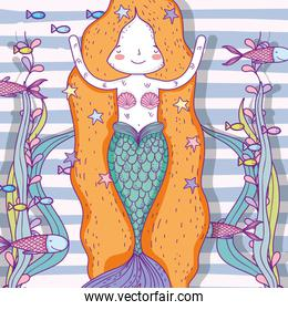 mermaid woman with fishes and plants leaves