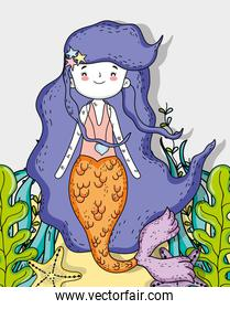 beauty mermaid with starfish and plants leaves