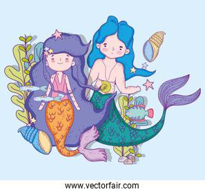 mermaids woman and man underwater with shells and fishes