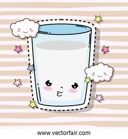 kawaii cute milk glass with clouds and stars
