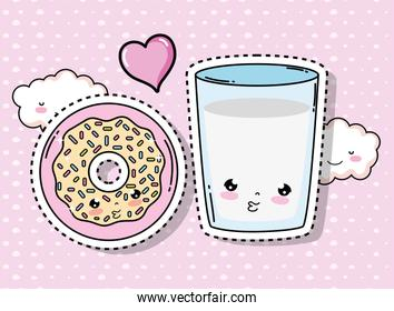 kawaii cute donut and water glass with clouds