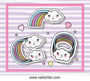 kawaii cute clouds with rainbows and hearts