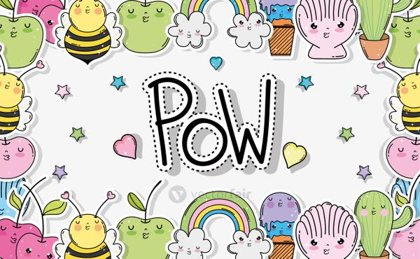 kawaii shells with bees and cactus with clouds background