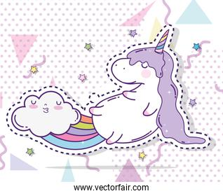 cute unicorn sticker and cloud with rainbow