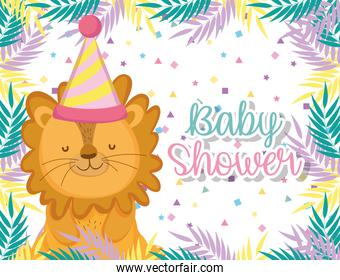 lion in the baby shower celebration with hat and plants