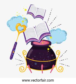 magic wand with books and couldron mysterious