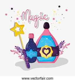 magic wand with potions mysterios effect