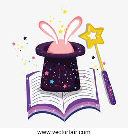 hat with rabbit and magic wand and book