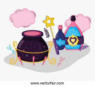 cauldron with magic wand and mystery potions