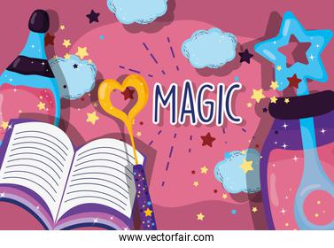 dust potion conjure with magic wand and book