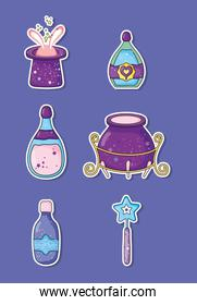 set hat with rabbit and cauldron, with potions effect