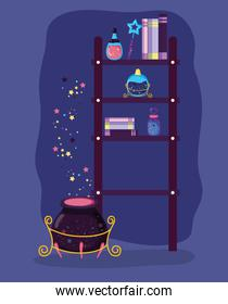 magic books and hat with rabbit and potions