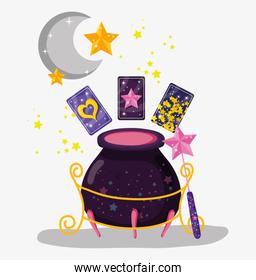 cauldron with cards and magic wand with stars