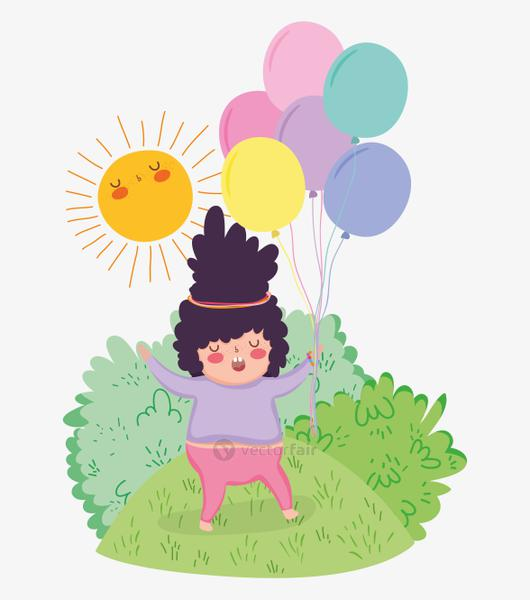 girl play with balloons and sun in the bushes