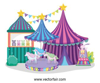 circus big top with toys store and electric carousel horses