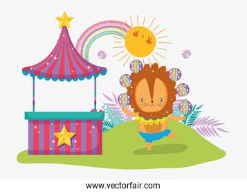 store and lion juggle with sun and rainbow