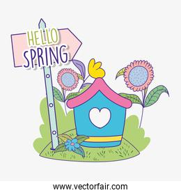 spring flowers plants with house and emblem direction