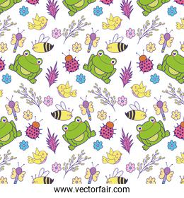 spring flowers with bee and frog background