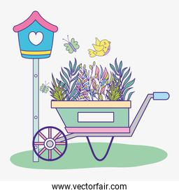 mailbox with branches leaves plants inside wheelbarrow