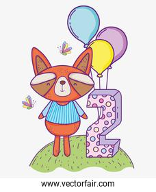 raccoon happy birthday two year with balloons