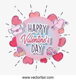 happy valentine day emblem with hearts and love card