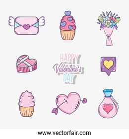 set valentine day decoration to celebrate event