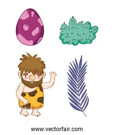 set dino egg with primitive man and plants