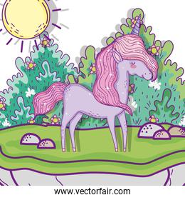unicorn animal with bushes plants and flowers