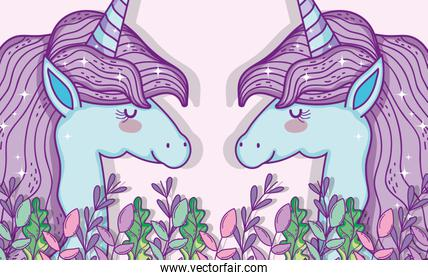 unicorns animals with branches leaves and flowers