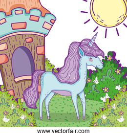 cute unicorn animal with house and bushes plants