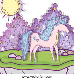 cute unicorn animal with bushes and sun