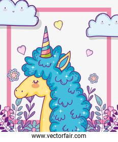 cute unicorn with branches leaves and hearts