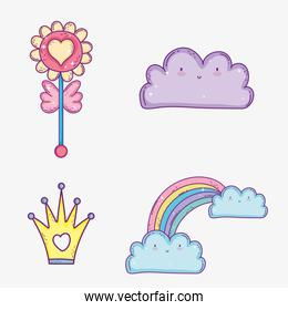 set kawaii cloud and rainbow with clouds and crown