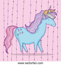 cute unicorn animal with horn and mane