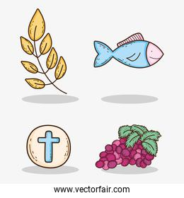 set branches leaves with host and grapes with fish