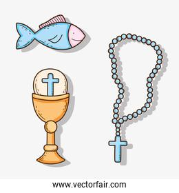set chaliz with host and cross rosary with fish
