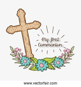 cross with branches leaves to first communion