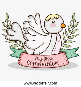 dove with branches leaves to first communion event