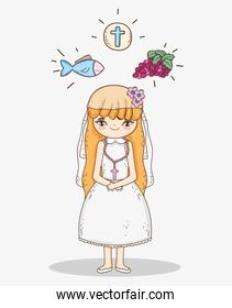 girl first communion with host wafer and fish