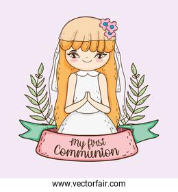 girl communion with branches leaves and ribbon