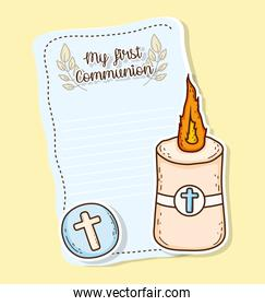 my first communion card with host wafer and candle