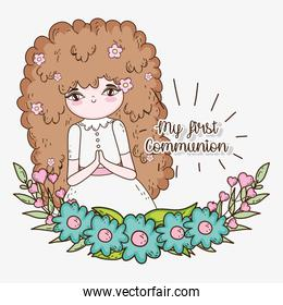 girl communuon with dress and flowers plants