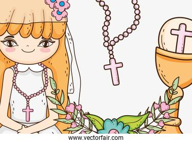 girl communion with host wafer and chalice